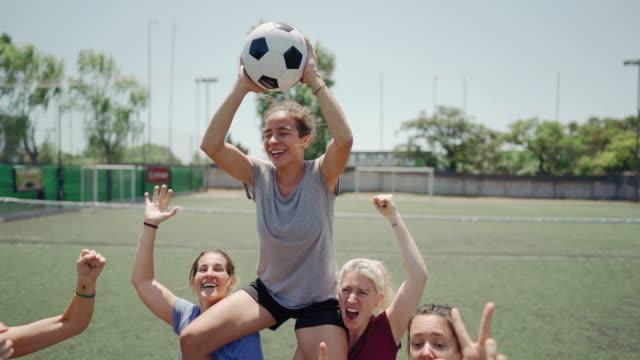 female soccer team winning the match - scoring stock videos & royalty-free footage
