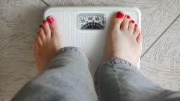 Female Standing on Weight Scale (HD)