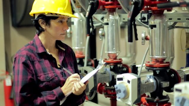 Female stationary engineer at work
