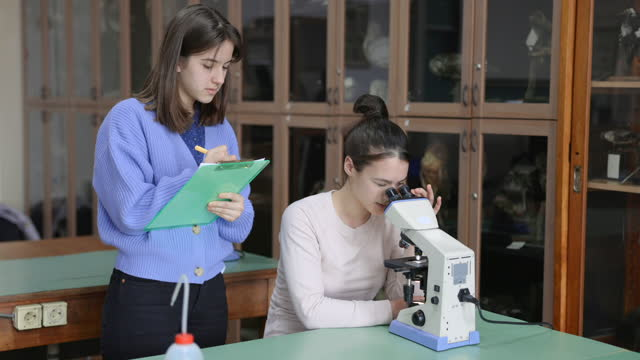 female student using microscope at the desk, her colleague writing down observations - see through stock videos & royalty-free footage