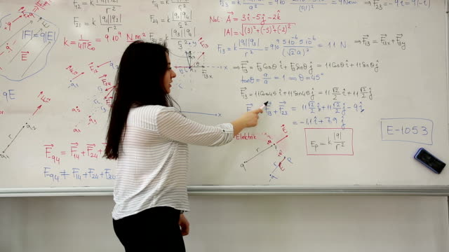 Female Student writing mathematical formula in front of the whiteboard
