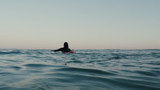 vídeos de stock, filmes e b-roll de female surfer paddling out on surfboard at sunrise at atlantic ocean coast in the south of france. - diving suit