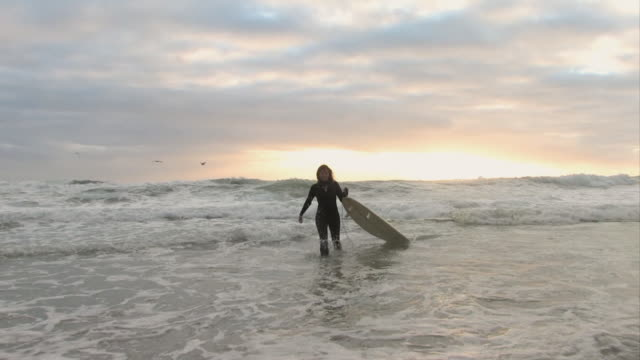 ws, female surfer walking with surfboard in ocean, cape town, western cape, south africa - 40代点の映像素材/bロール
