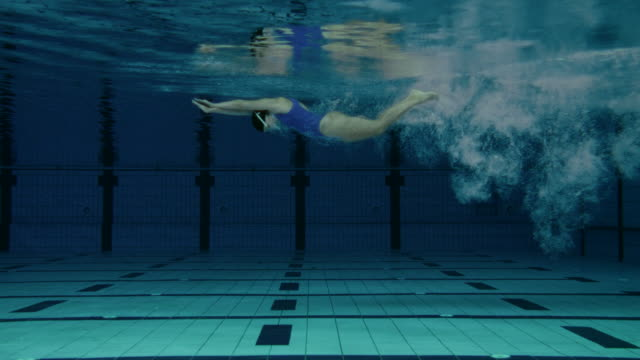 female swimmer jumping into pool - diving into water stock videos & royalty-free footage