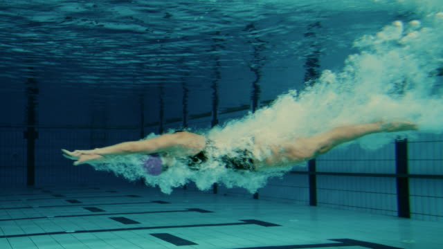 female swimmer jumping into pool - sports stock videos & royalty-free footage