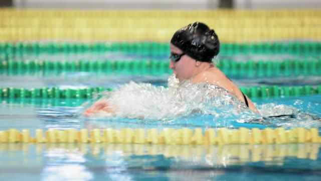 SLO MO TS Female swimmer swimming in breaststroke style