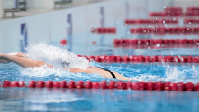 stockvideo's en b-roll-footage met slo mo ts female swimmer winning the butterfly style competition - binnenbad