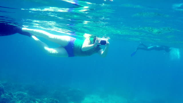 female swimmer with underwater camera snorkeling in north bali coral reef - north bali stock videos & royalty-free footage