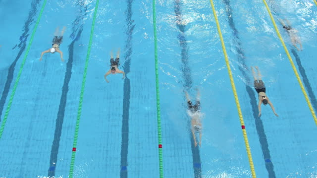 AERIAL Female swimmers competing in breaststroke style