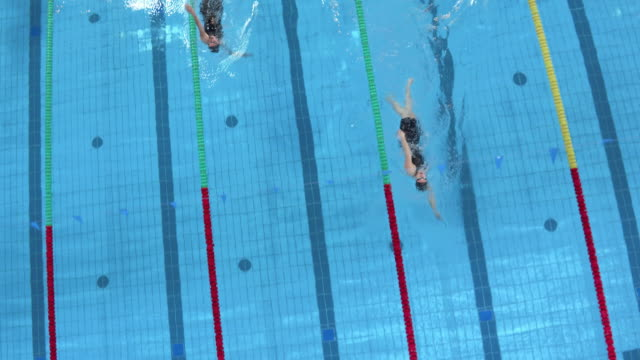 aerial female swimmers finishing in a backstroke competition - backstroke stock videos & royalty-free footage