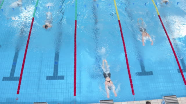 aerial female swimmers sprint to the finish in swimming competition - 耐久力点の映像素材/bロール