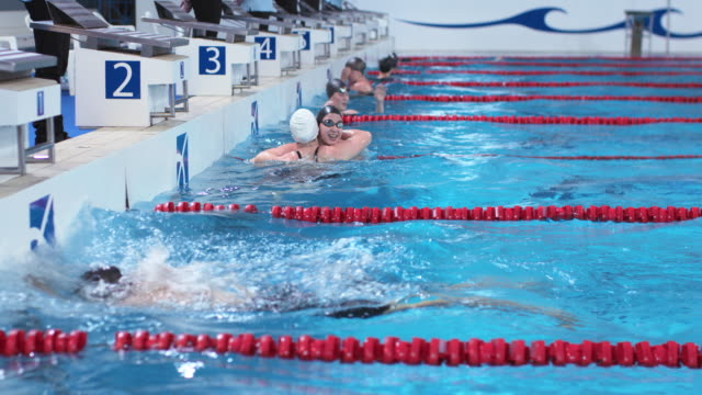 ds female swimmers sprinting to finish in breaststroke style competition - wettkampf stock-videos und b-roll-filmmaterial