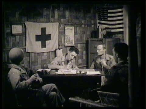 Female taking dictation notes from injured soldier in hospital bed VS Field director male soldier signing papers for loan in office WWII