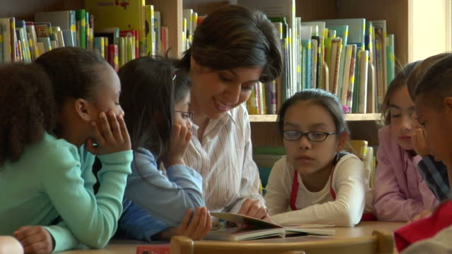 CU, Female teacher surrounded by children (6-7, 8-9) reading book in classroom