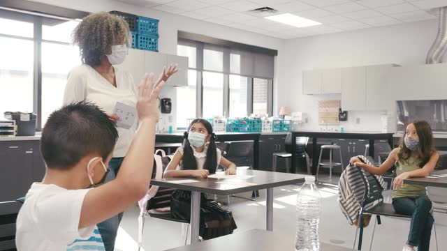 female teacher teaches class during covid-19 pandemic - elementary school stock videos & royalty-free footage