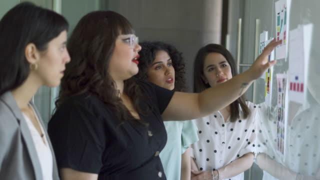 vídeos y material grabado en eventos de stock de equipo femenino trabajando y compartiendo ideas - indicar