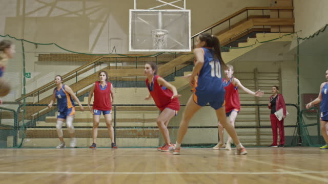 Female teams competing in basketball