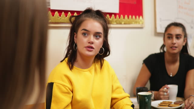 female teenagers in youth club - counselling session stock videos & royalty-free footage
