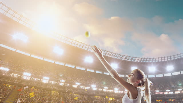 female tennis player in action during game - tennis stock videos & royalty-free footage