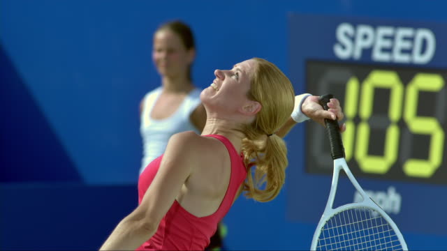 female tennis player serving the ball - serving sport stock videos and b-roll footage