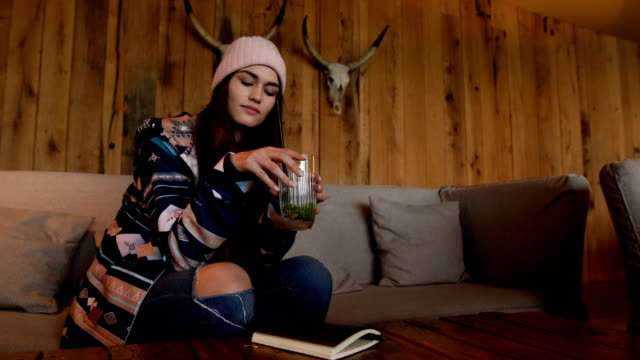 female tourist resting in a cabin - animal skull stock videos and b-roll footage