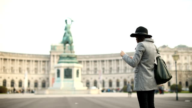 Female Tourist taking photos in Vienna ,Austria