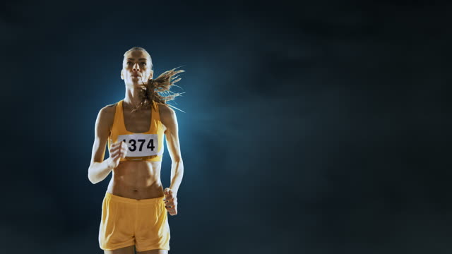 female track and field runner - track and field event stock videos and b-roll footage