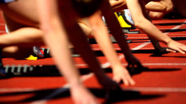 cu female track runners starting off - starting line stock videos & royalty-free footage
