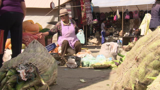 vidéos et rushes de female trader selling fresh ginger and vegetables sitting then talking to customer, villa de leyva market, villa de leyva, boyacã¡ department, colombia - amérique du sud