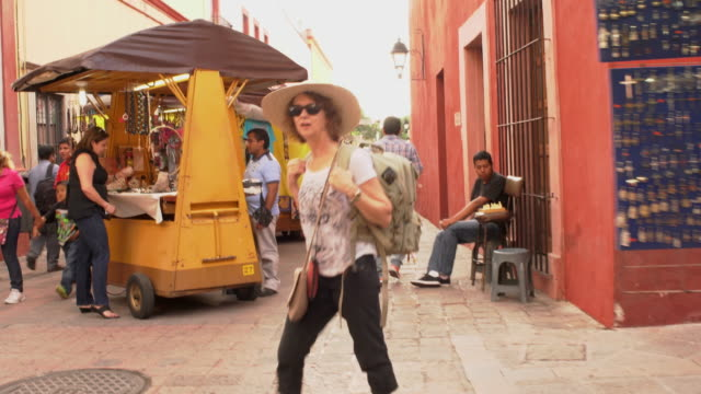 Female traveler exploring streets of Queretaro