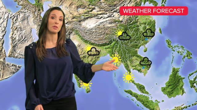 female tv weather presenter - media occupation stock videos & royalty-free footage