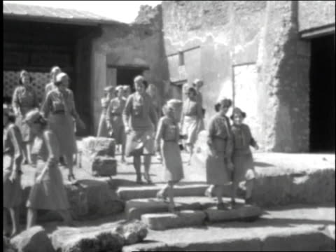 female walk down old street and stone steps / rome italy - 1944 stock videos and b-roll footage