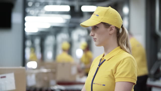 female warehouse employee working on the computer and checking the documents next to it - polo shirt stock videos and b-roll footage