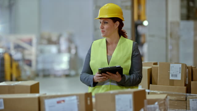 female warehouse supervisor checking a pallet in the warehouse - forklift truck stock videos and b-roll footage
