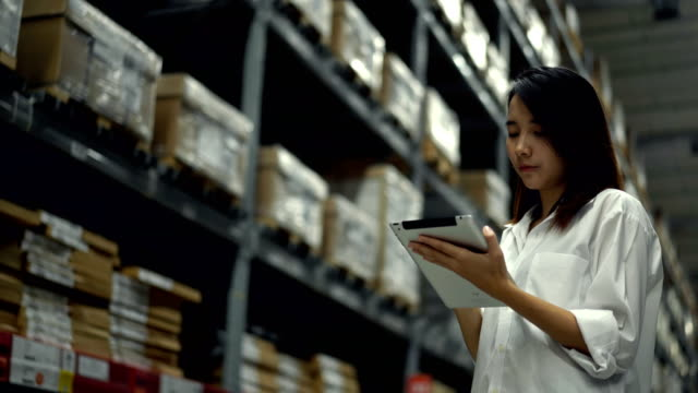流通倉庫の棚にパッケージを数える女性倉庫労働者 - 貯蔵庫点の映像素材/bロール