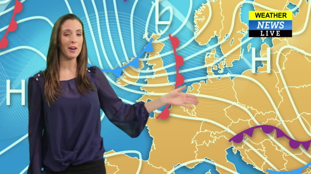 female weather forecast presenter in a green screen studio - broadcasting stock videos & royalty-free footage