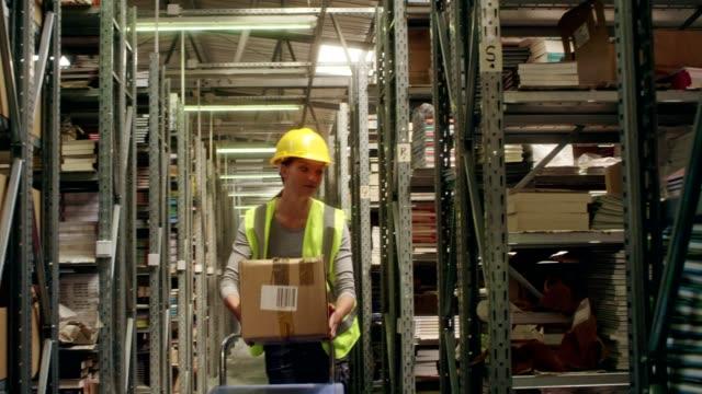 vídeos de stock e filmes b-roll de female worker distributing packages - trabalhador de armazém