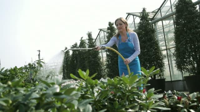female worker watering plants - 吹きかける点の映像素材/bロール