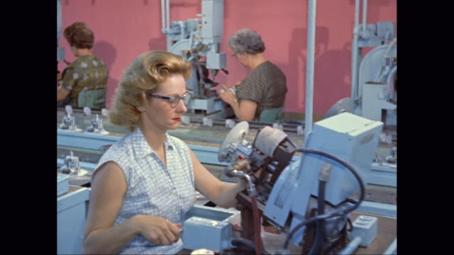 ms pan female workers working in factory / united states - 1960 stock videos and b-roll footage