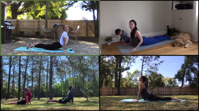 female yoga teacher instructs online class - hobbies stock videos & royalty-free footage