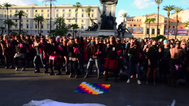 feminist activists from the group non una di meno take part in a choreographed performance at the cavour square against gender violence and... - patriarchy stock videos & royalty-free footage