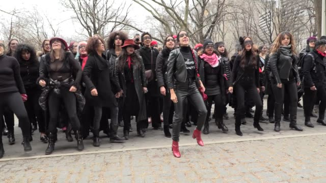 feminist flash mob outside trump hotel during harvey weinstein jury selection on january 10, 2020 in new york city. dozens of women, clad in black... - organized group stock videos & royalty-free footage