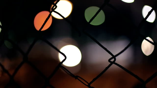 Fence, Defocused passing car, Night, Light Reflection