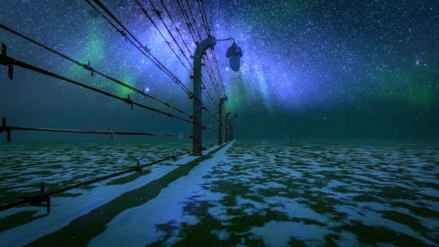 fence with barbed wire against milky way - at the edge of stock videos & royalty-free footage