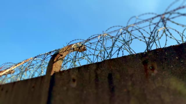 fence with barbed wire (concertina) - barbed wire stock videos & royalty-free footage