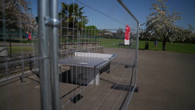 a fenced off outdoor table tennis table albert rd recreation ground due to the coronavirus outbreak on march 18 2020 in london united kingdom... - fence stock videos & royalty-free footage