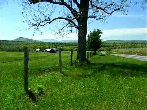 fenceline tree, pasture and barns - zaun stock-videos und b-roll-filmmaterial