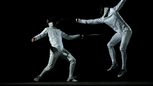 hd: fencer executing offensively technique - contestant stock videos & royalty-free footage