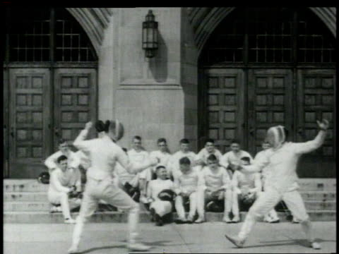 1948 montage fencers in competition / united states - spada video stock e b–roll