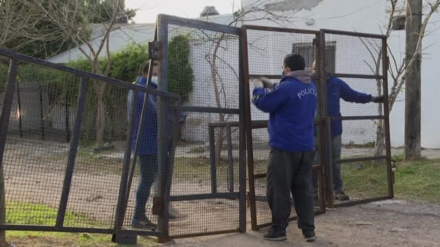 fences are placed at entrances of the villa azul neighborhood, in the outskirts of buenos aires, as authorities ordered isolation of the low-income... - azul stock videos & royalty-free footage